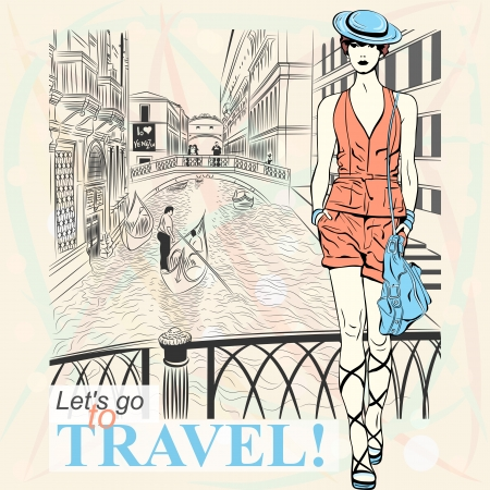 Lovely fashion girl in blue hat in sketch-style on a Venice background. Vector