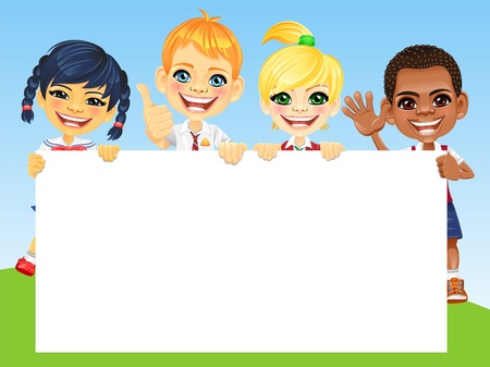 pupils: Smiling happy smile kids and horizontal banner for your text or picture