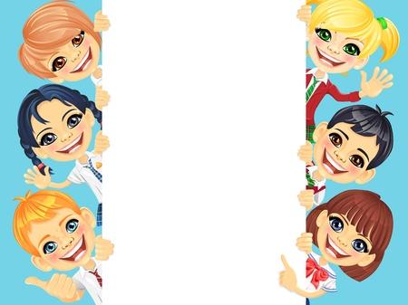 Lächelnd glückliches Lächeln Kinder und vertikale Banner für Ihren Text oder Bild
