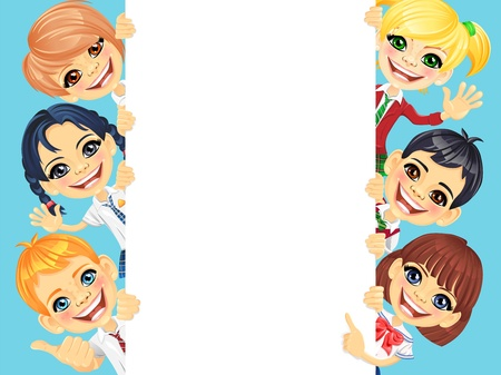 Smiling happy smile kids and vertical banner for your text or picture Vector