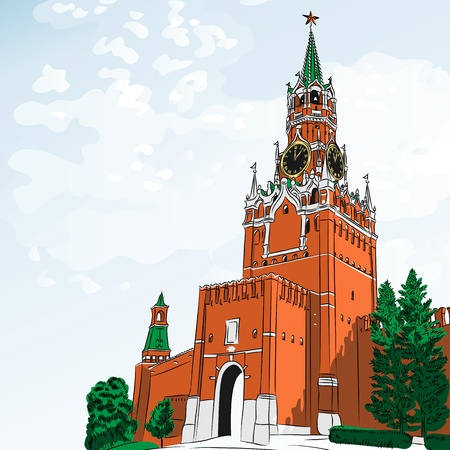 Spasskaya Tower of the Moscow Kremlin, Russia, View from Red Square Vector