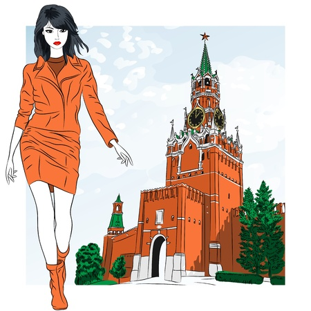 red square moscow: lovely fashion girl  on the background of the Spasskaya tower of Moscow Kremlin, Russia, View from Red Square