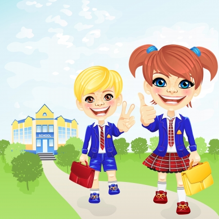 school girl uniform: Smiling happy schoolgirl and schoolboy in a school uniform with a bags near the school Illustration