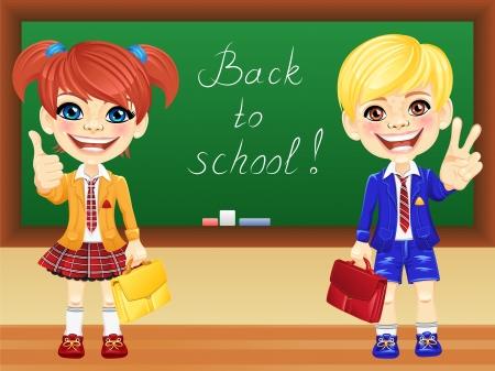 school girl uniform: sorridente scolari felice ragazza e ragazzo in uniforme della scuola con uno zaino scuola vicino a Lavagna