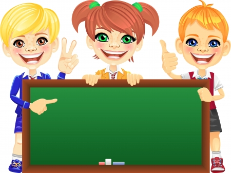 Smiling happy schoolchildren with green banner Blackboard for your text or picture