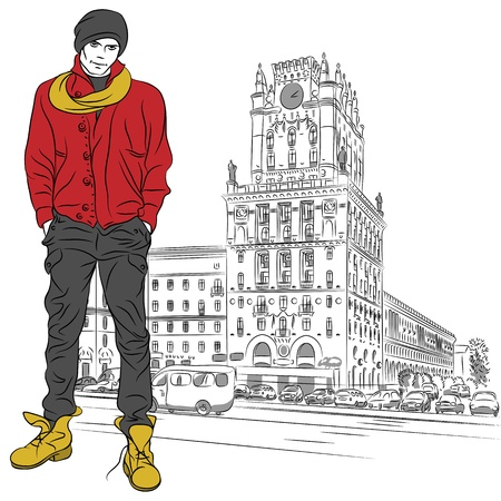 sketch of a stylish guy in jeans, jacket, boots, hat in the city-center Vector
