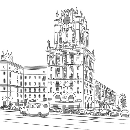 belarus: sketch of a city-center, Station Square, Minsk, Belarus Illustration
