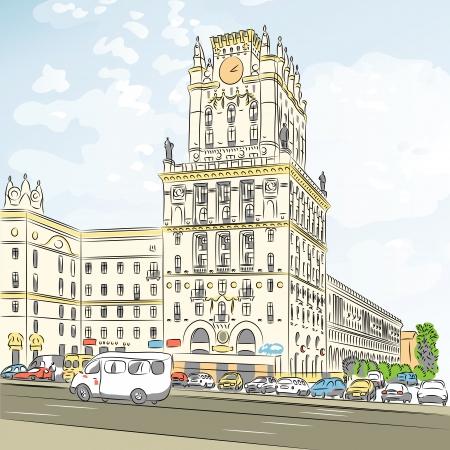 avenue: color sketch of a city-center, Station Square, Minsk, Belarus Illustration