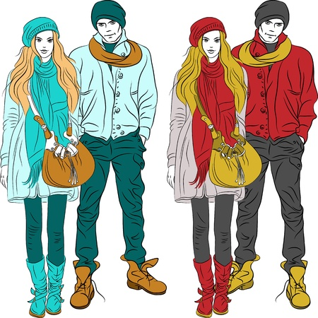 set fashion stylish guy and girl in warm clothes in two colors Illustration