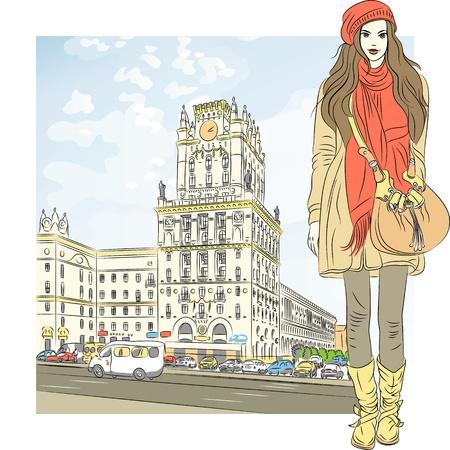 Vector schets van een stijlvol meisje met lang haar in een jas, laarzen, muts, sjaal en tas in het centrum