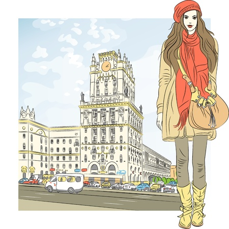 spring coat: Vector sketch of a stylish girl with long hair in a coat, boots, hat, scarf and bag in the city-center
