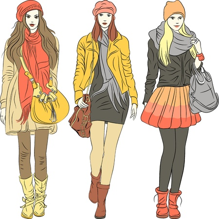 warm clothes: Vector eset fashion stylish girls in warm pastel clothes