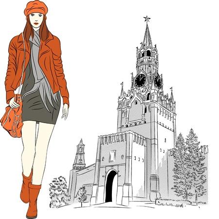 Vector chica de moda encantadora en ropa de abrigo rojo en el fondo del Kremlin de Moscú, Rusia