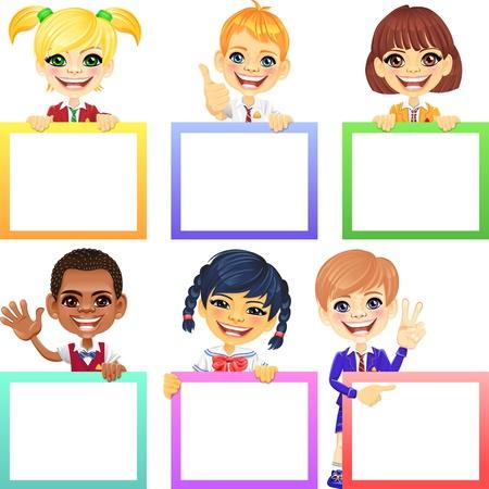 sch�ler: L�chelnd gl�ckliches L�cheln Kinder mit bunten Fahnen Illustration