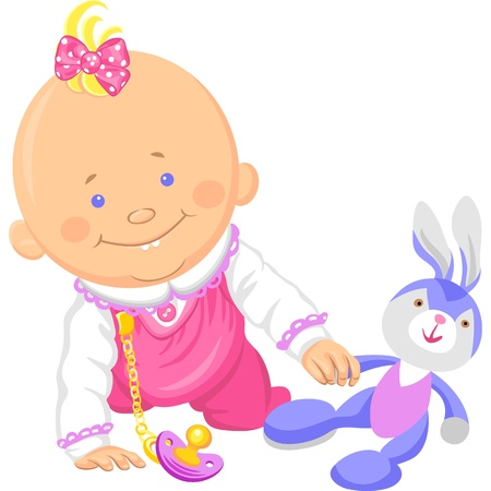 baby playing toy: vector Cute smiling baby girl playing with a toy rabbit, crawl on the floor Illustration