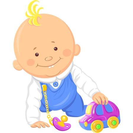 vector Leuke glimlachende baby jongen speelt met een stuk speelgoed auto, kruipen op de vloer Stock Illustratie