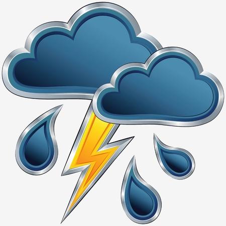 estado del tiempo: vector icono de mal tiempo con las nubes, tormenta, lluvia y rel�mpagos un Vectores
