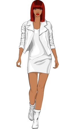 dress sketch: vector color sketch of a beautiful fashion young black girl with brown hair and a serious look in a white leather suit with a short skirt, isolated on white background Illustration