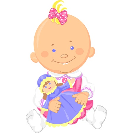 baby playing toy: Vector Cute smiling sitting baby girl playing with a toy doll
