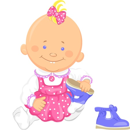 Cute smiling sitting baby girl learns to put on ones shoes, playing with sandals