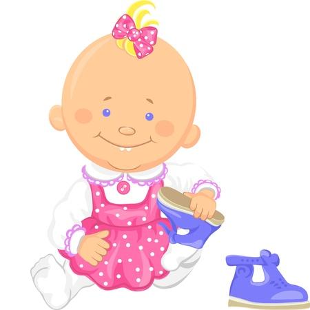Leuke glimlachende zittingsbaby meisje leert te zetten op iemands schoenen, het spelen met sandalen