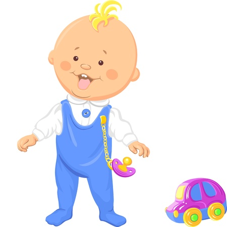 pacifier: Vector Cute smiling baby boy learns to walk and playing with a toy car Illustration