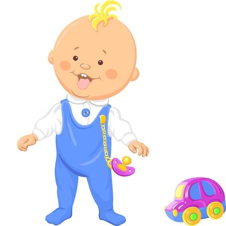 Vector lindo muchacho sonriente bebé aprende a caminar y jugar con un coche de juguete
