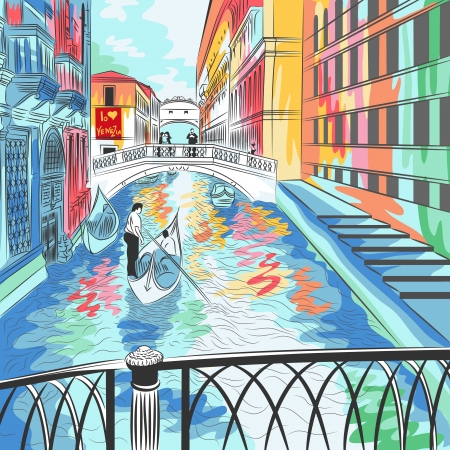 Dibujo vectorial color de un paisaje del Puente de los Suspiros en Venecia