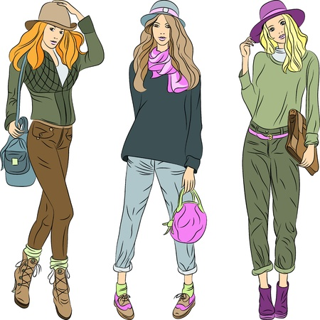 the top model: set beautiful fashion girls top models with bags in the summer or spring clothes  jacket, sweater, shoes, pants and hats Illustration