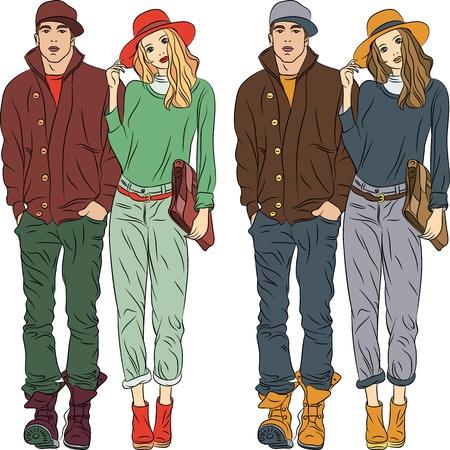 gesetzt Mode stilvolle Kerl und Mädchen im Frühling Kleidung in zwei Farben Illustration