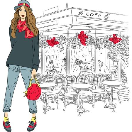 Mooie mode meisje in schets-stijl op de achtergrond van de Parijse cafe