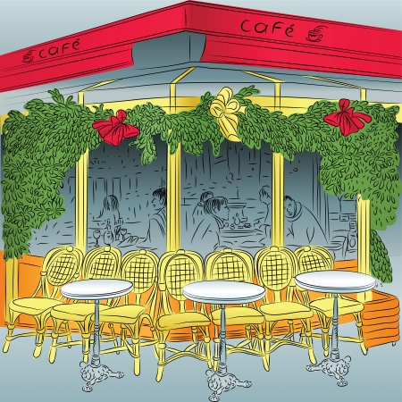 french cafe: sketch of the Parisian cafe with Christmas decorations