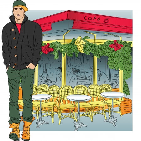 Vector stylish guy in jeans, jacket, boots, cap in sketch-style on the background of the Parisian cafe Vector