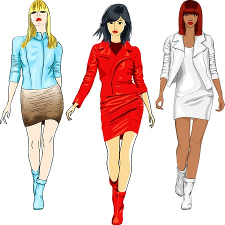 bangs: Vector color sketch of a beautiful fashion young caucasian, asian and african girls with serious look in a white, blue and red leather suits with a short skirt, isolated on white background