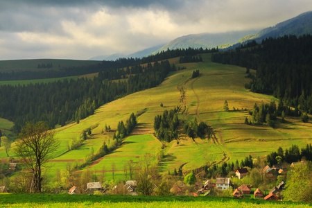 carpathian mountains: Spring morning rural landscape in the Carpathian mountains  Dramatic sky before dawn