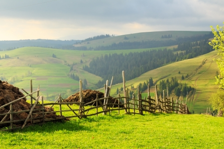 Spring morning rural landscape in the Carpathian mountains with fence