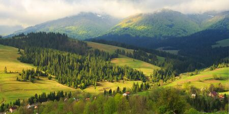 carpathian mountains: Spring morning rural landscape in the Carpathian mountains. Low clouds are on the tops of mountains.