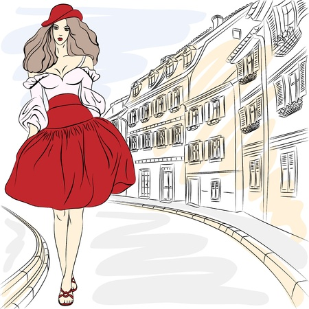 Vector Beautiful fashion girl top model in summer dress on a city street