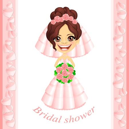 frau dusche: Vector Brautpartyeinladung mit niedlichen Cartoon-Braut