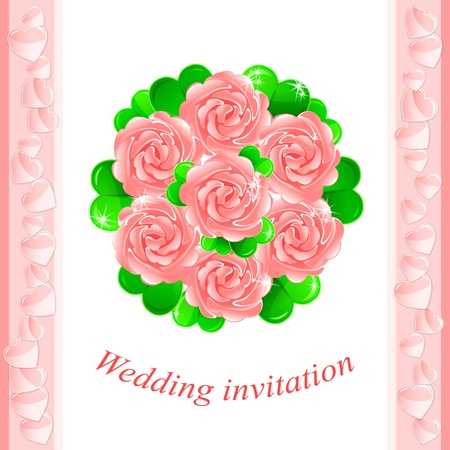 bride bouquet: Vector wedding invitation with a pretty bridal bouquet of pink roses