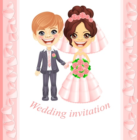Vector wedding invitation with cute cartoon bride and groom Vector