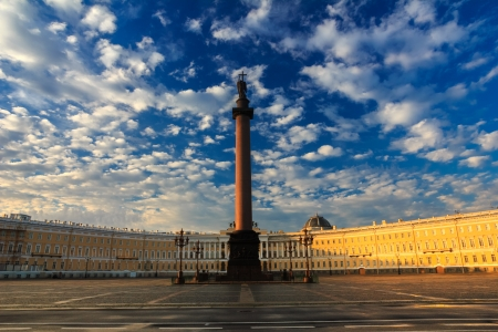 hermitage: Morning at Palace Square, Saint-Petersburg, Russia Stock Photo