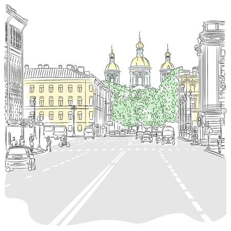 Vector Stedelijk landschap, de brede laan met uitzicht op de kerk in Sint-Petersburg, Rusland