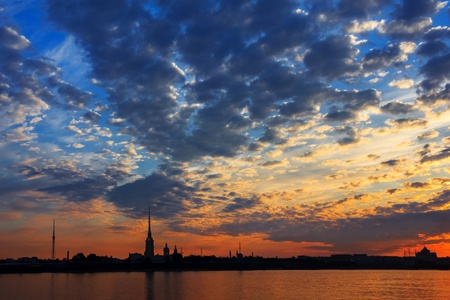 Bright sunrise over the Neva River, the view of Peter and Paul Fortress, St  Petersburg, Russia photo