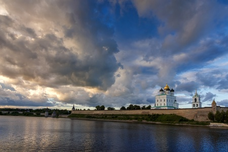 Pskov Kremlin in the evening before the storm, Russia photo