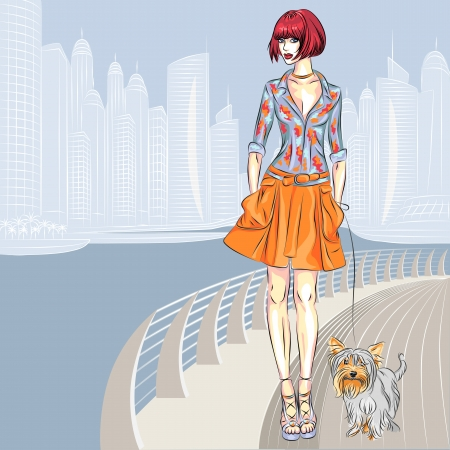 waterfront: Vector beautiful fashion girls top models with dog Yorkshire Terrier breed walks along the waterfront of the modern city