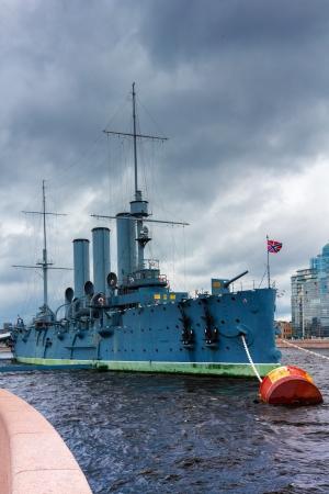 Russische geschützte Kreuzer Aurora, in Sankt Petersburg vor Anker