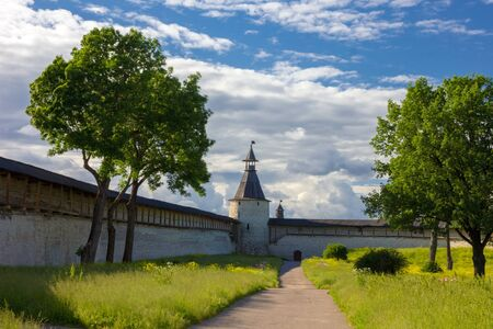 loopholes: Inner courtyard Pskov Kremlin in the summer evening, Russia