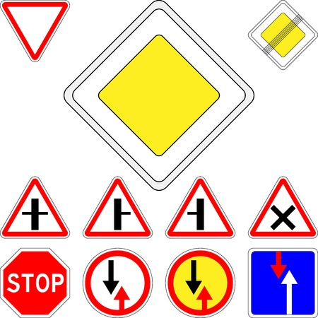 equivalent: vector set of road signs priority Illustration