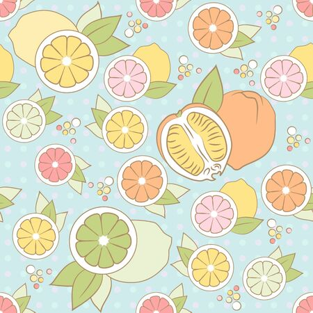 vector pastel seamless pattern with different citrus